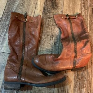 Brown full zip leather boots